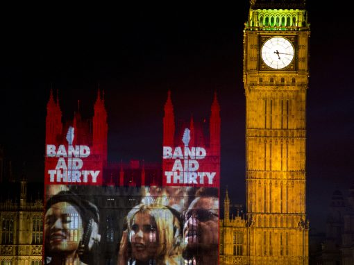 BAND AID THIRTY PROJECTIONS ONTO PARLIAMENT